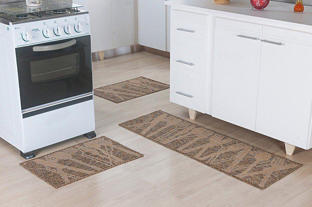 Conjunto de tapete para cozinha Sisal Viena 3 Peças    Oasis