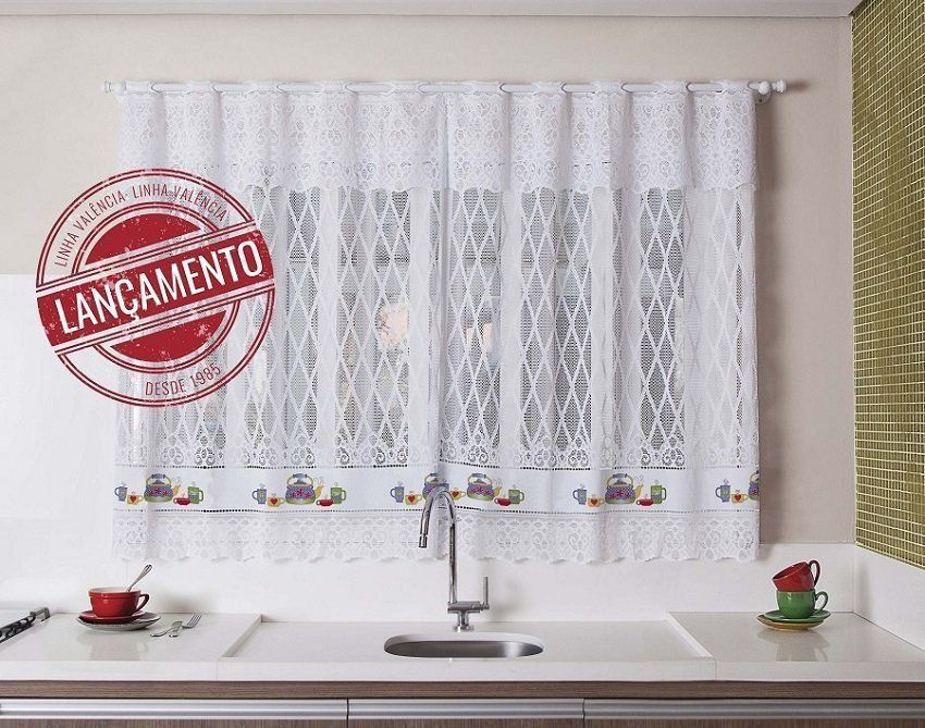 Cortina Para Janela De Cozinha De Renda 2,00x1,50 - Chaleira