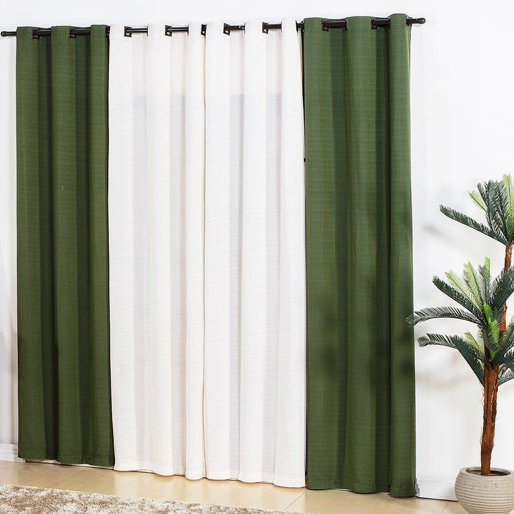 Cortina Para Sala 4,00x2,50 Bicolor Verde e Branca  Admirare