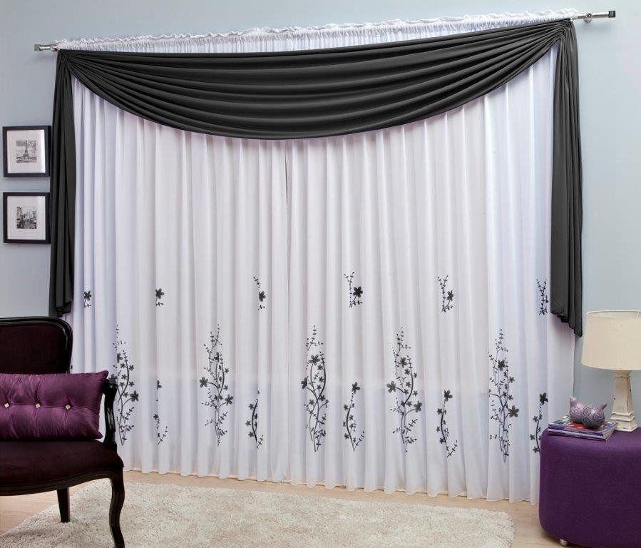 Cortina Para Sala Estampada em Malha c/ Bandô 3,00x2,40 - Mônaco