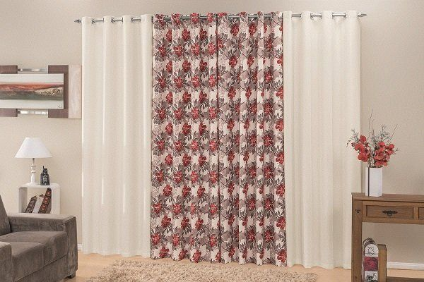 Cortina Rústica Para Sala Floral 400x250 Admirare