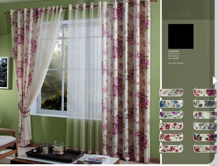 Cortina Estampada Para Sala Thais 5,60x2,70| MC Cortinas