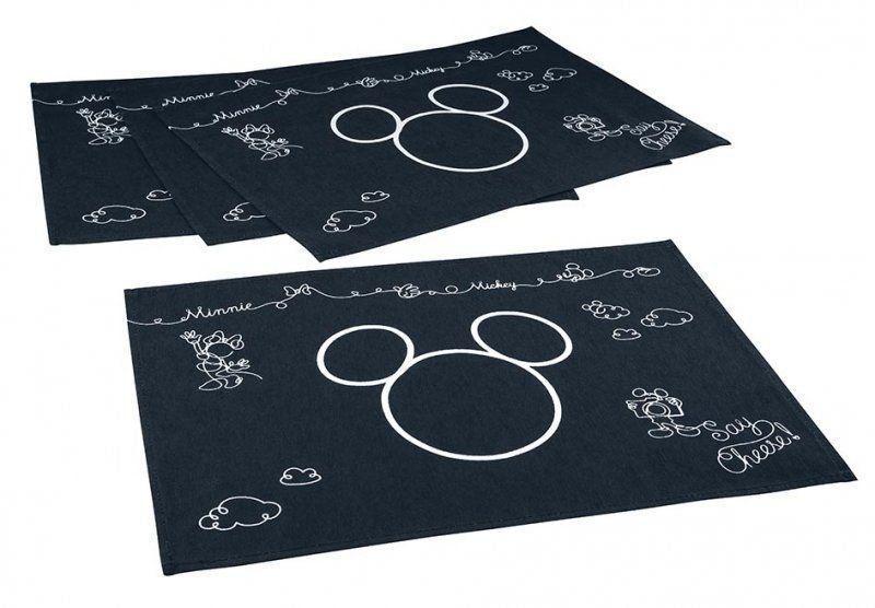 Jogo Americano Estampado 4 lugares Mickey e Minnie Preto   Lepper