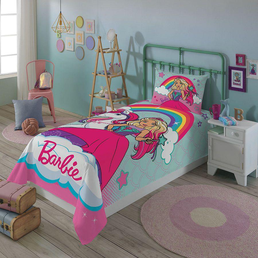 Jogo de Cama Barbie Reinos Mágicos Solteiro 2 Peças Lepper