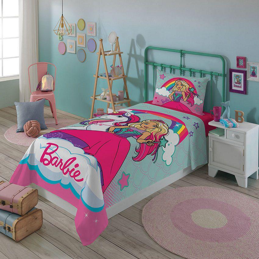 Jogo de Cama Barbie Reinos Mágicos Solteiro 3 peças Lepper