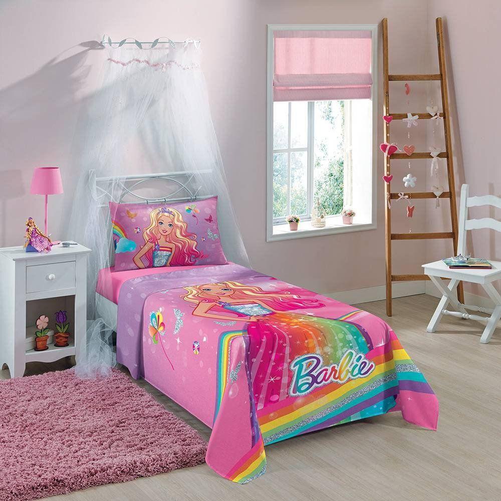 Jogo de Cama Infantil Barbie Reino do Arco-íris 3 Peças    Lepper