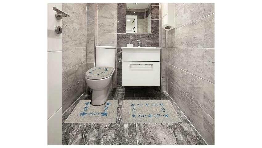 Jogo de Tapete De Banheiro 3 Peças 100% Algodão Sultan