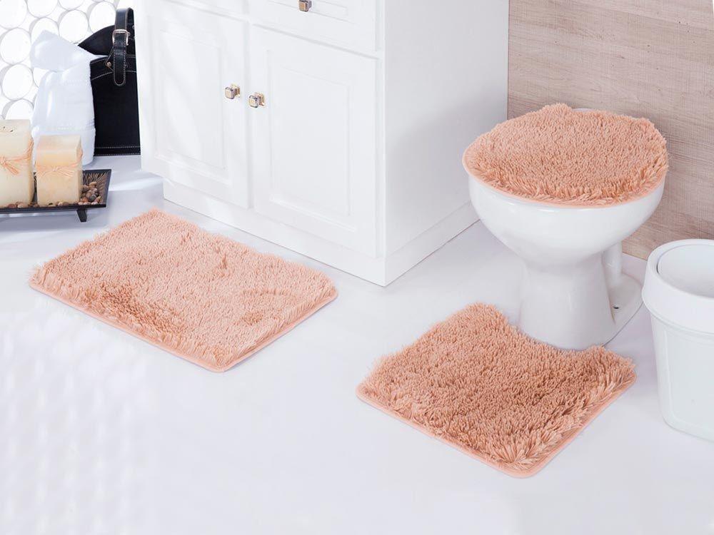 Jogo de tapetes para banheiro Kit com 3 Peças Samara   Asiatex