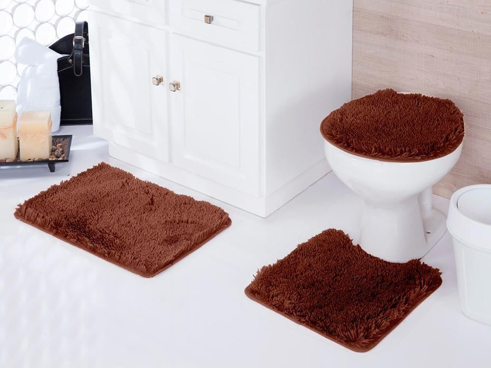 Jogo de tapetes para banheiro Kit com 3 Peças Samara | Asiatex
