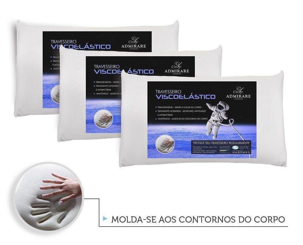 Kit 3 Travesseiros Antialergico Viscoelastico Nasa | Admirare