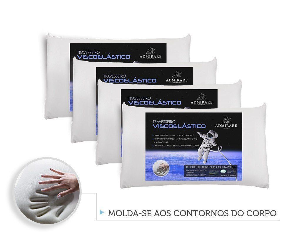 Kit 4 Travesseiros Antialergico Viscoelastico Nasa | Admirare