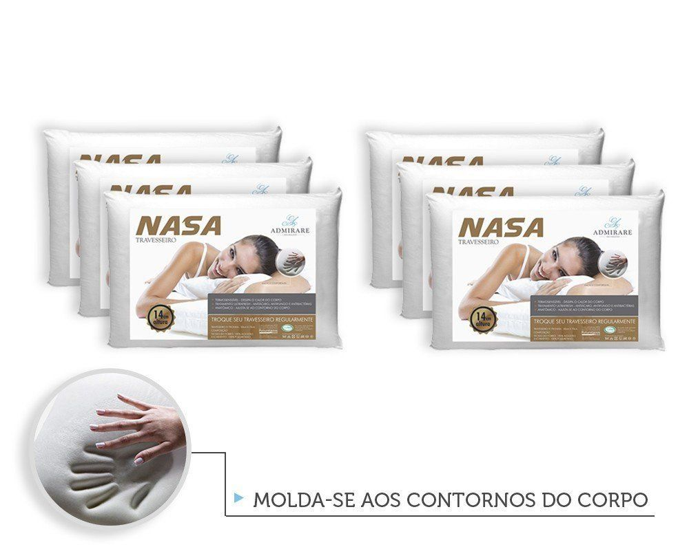 Kit 6 Travesseiros Antialergico Nasa 14 cm | Admirare