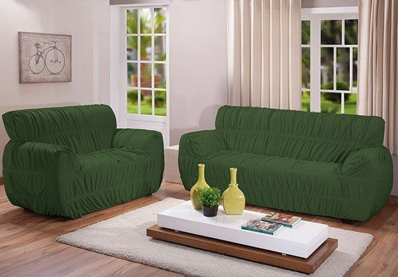 Kit Capa Sofá 21 Elastico Super King Verde | Arte e Cazza