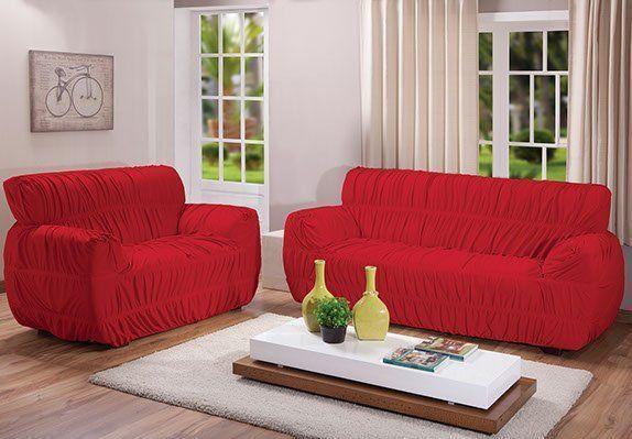 Kit Capa Sofá 21 Elastico Super King Vermelha Arte e Cazza