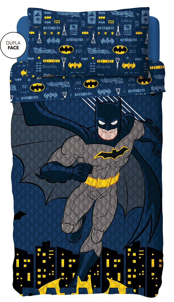 Kit Colcha Batman Dupla Face Solteiro  Bouti Lepper