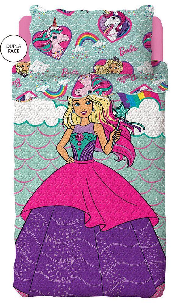 Kit Colcha Dupla Face Solteiro Bouti Barbie Reinos Mágicos Lepper