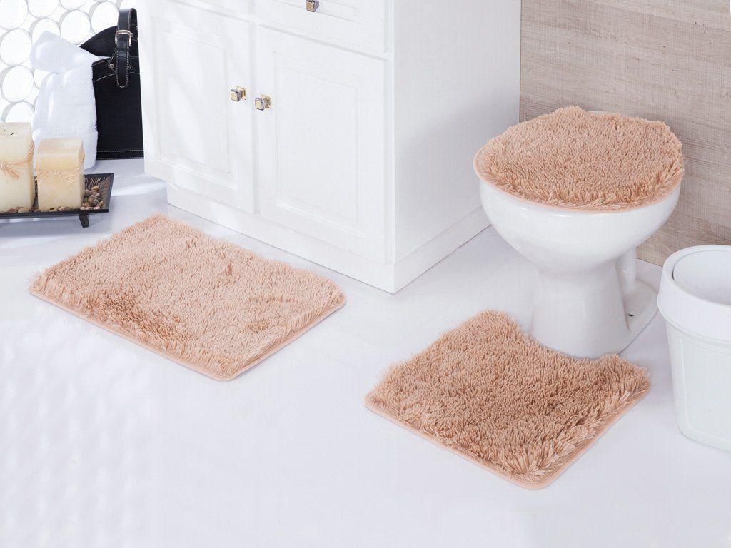 Kit Tapete Banheiro 3 Peças Shaggy Bege Samara   Asiatex