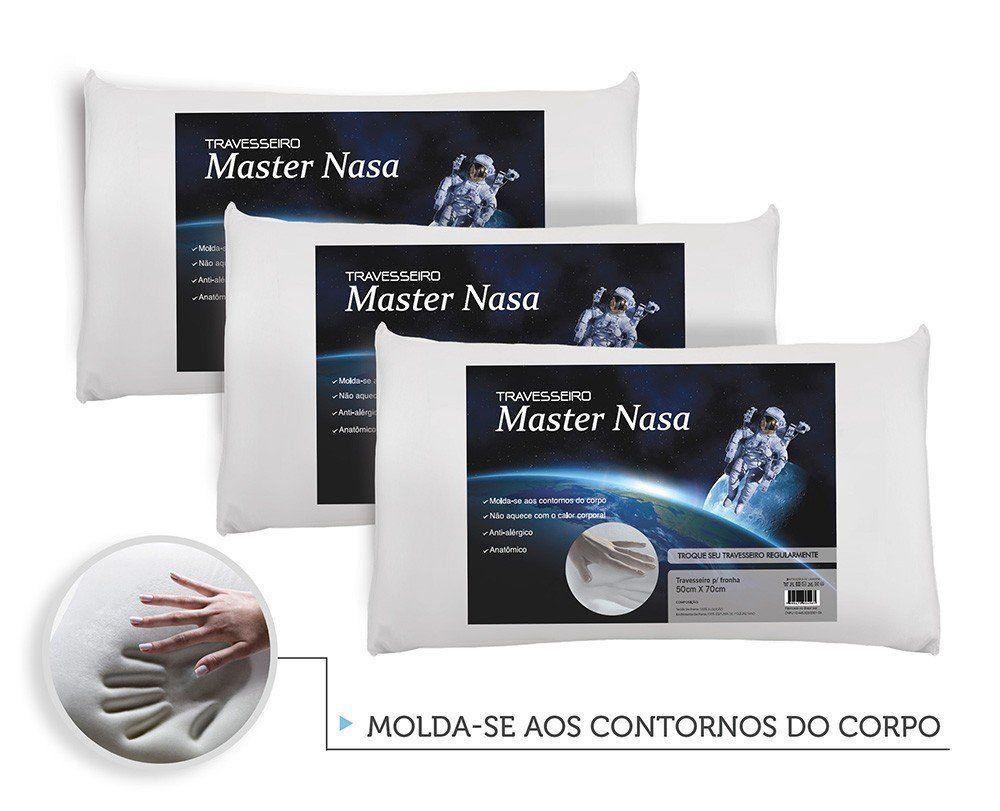 Kit Travesseiro Nasa 3 Pecas - Antialergico - Toque Macio