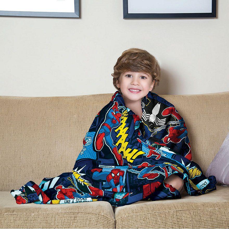 Manta Fleece de Sofá Solteiro Spider Man 1,25 x 1,50m Lepper
