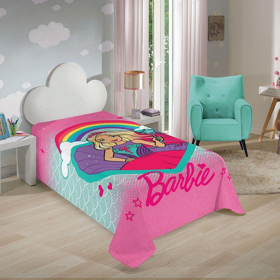 Manta Fleece Solteiro Barbie Reinos Mágicos 1,50x2,20 Lepper