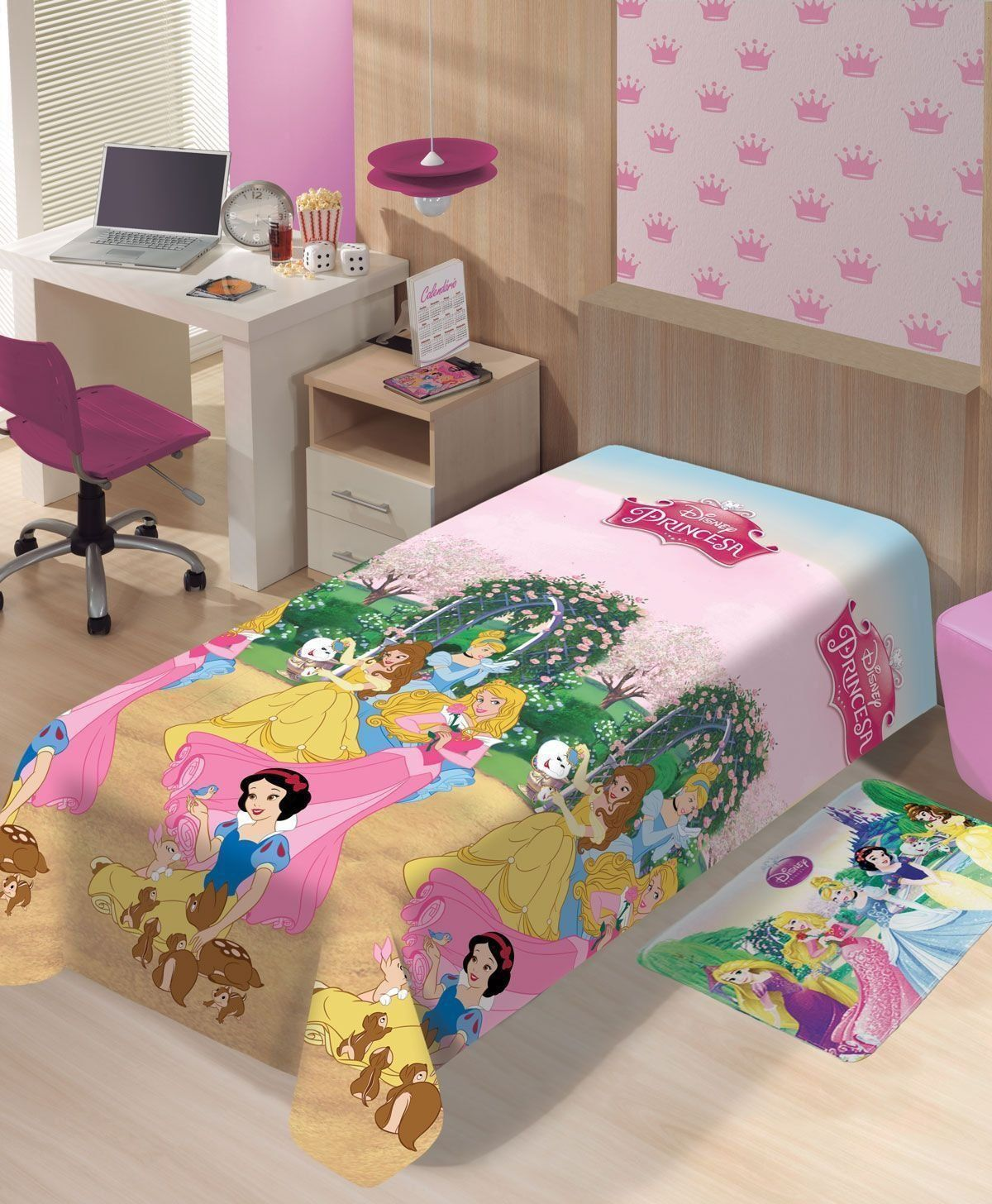Manta Microfibra Disney Princesas Jardim   Jolitex