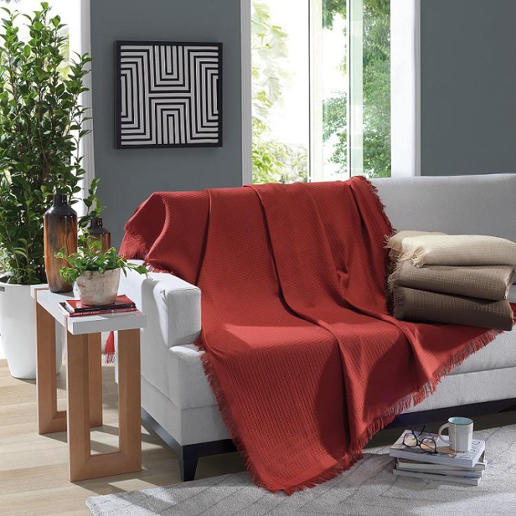Manta Para Sofá Algodão Marrocos Vermelha 150x120m Döhler