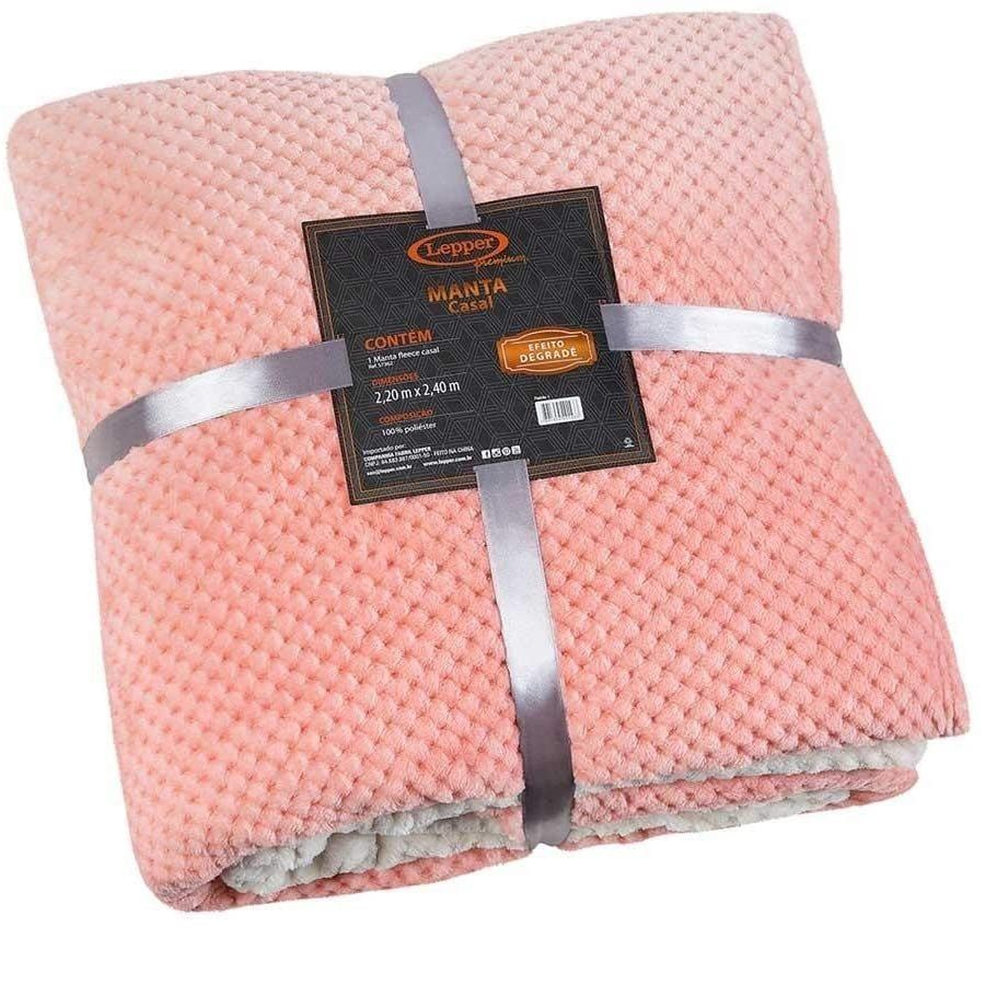 Manta Queen Fleece Degrade Melodie Rosa Super Macio Lepper