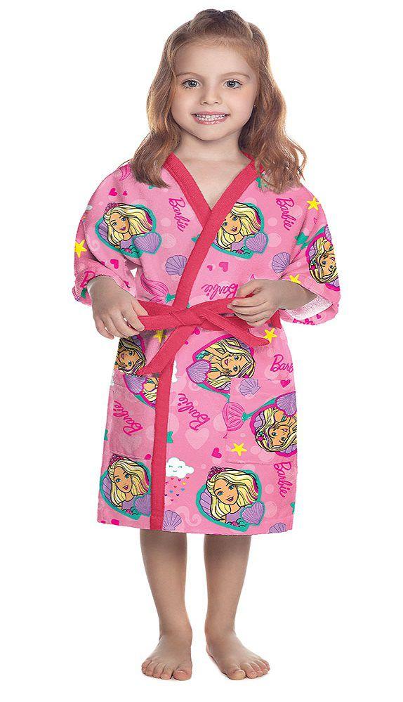 Roupão Aveludado Infantil Quimono Barbie Reinos Mágicos P