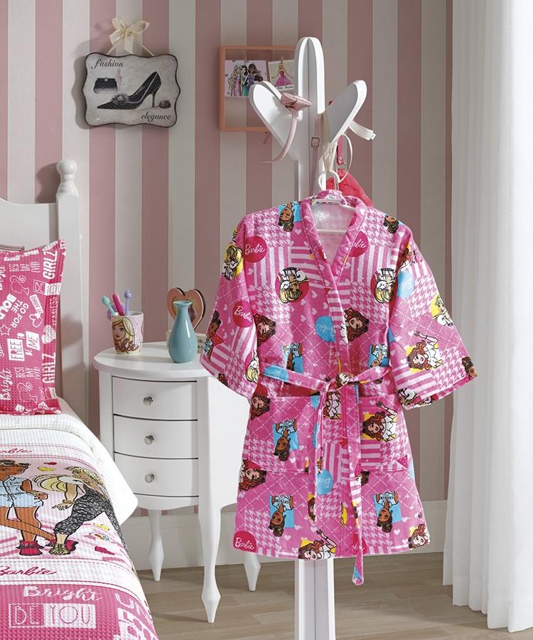 Roupão Barbie Infantil Aveludado Licenciado Tamanho M Döhler