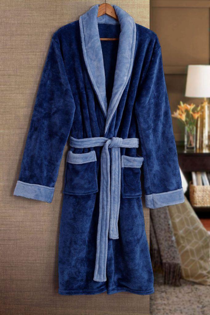 Roupão de Banho Flannel Tamir Paris Azul Tam: P