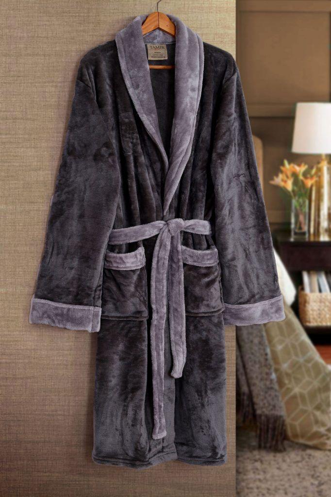 Roupão de Banho Flannel Tamir Paris Cinza Tam: P