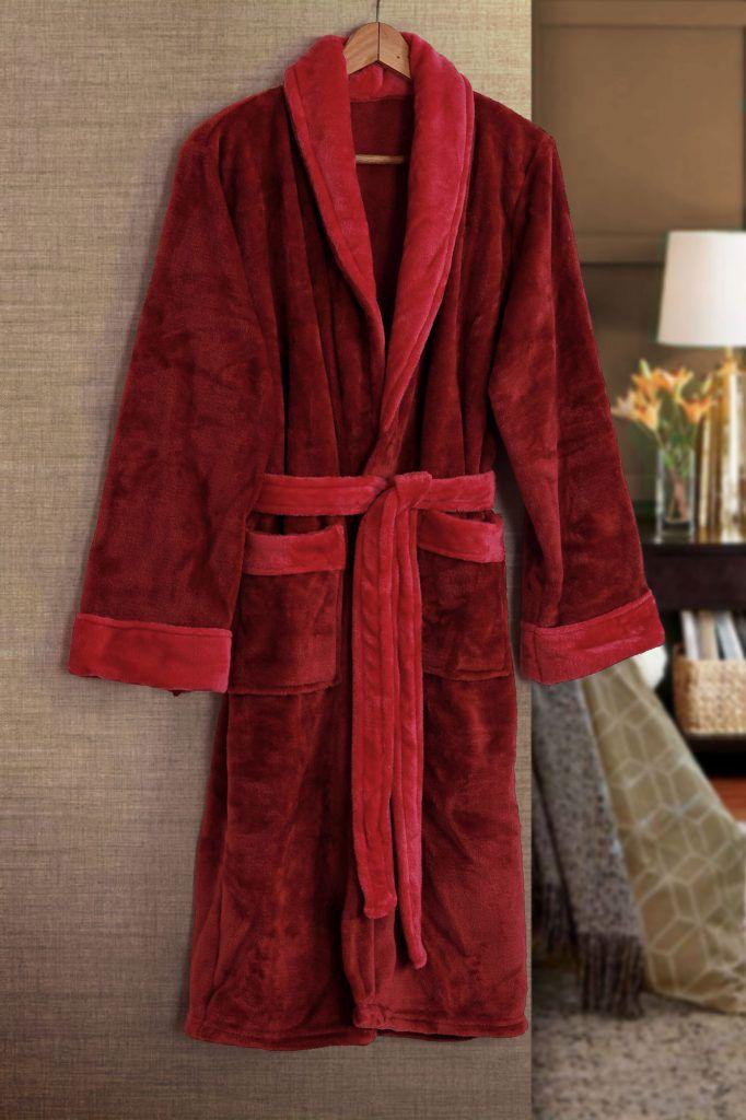 Roupão de Banho Flannel Tamir Paris Vermelho Tam: M