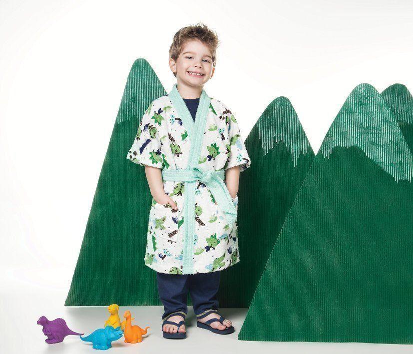 Roupão Felpudo Infantil Quimono Dino | Lepper