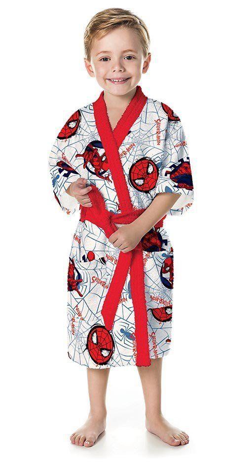 Roupão Infantil Felpudo Quimono Spider Man | Lepper
