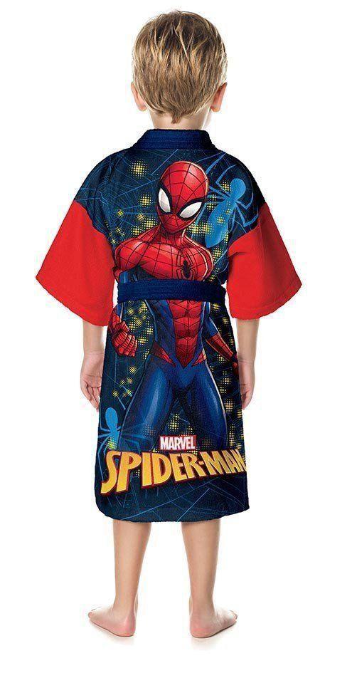 Roupão Infantil Quimono Aveludado Spider Man | Lepper