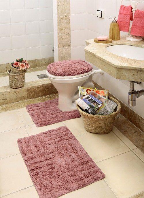 bd5e30821 Tapete de Banheiro Kit 3 Pecas 100 Algodão - Corttex - Bege Bege -  MadeiraMadeira