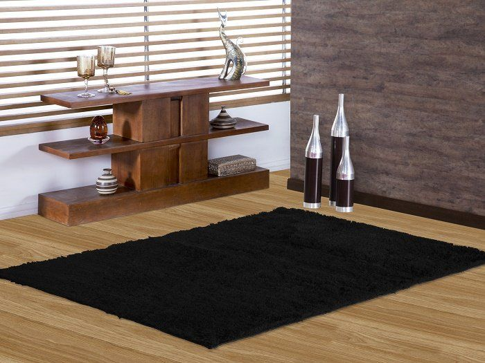 tapete de sala shaggy 1 40x2 00 preto. Black Bedroom Furniture Sets. Home Design Ideas