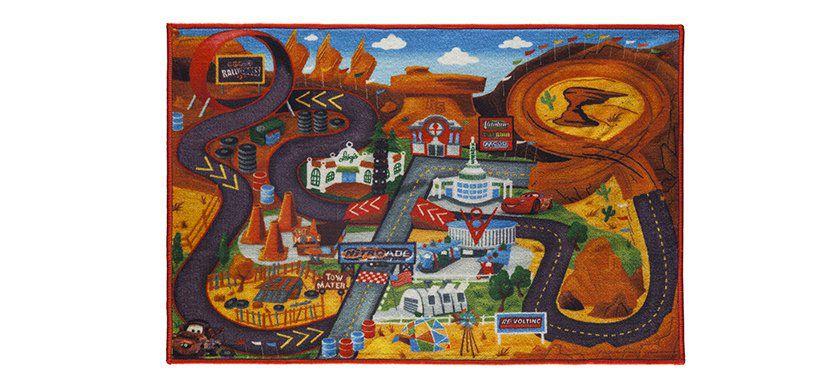 Tapete Infantil Disney 0,66x1,00 Carros Corrida c/ Brinquedo Corttex