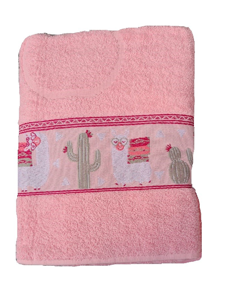 Toalha De Banho Macia Rosa Lhama 70x130cm Camesa
