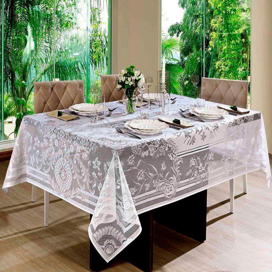 Toalha de mesa Retangular 6 lugares de Crochê Queen Branco 1,55 x 2,00 m | Lepper