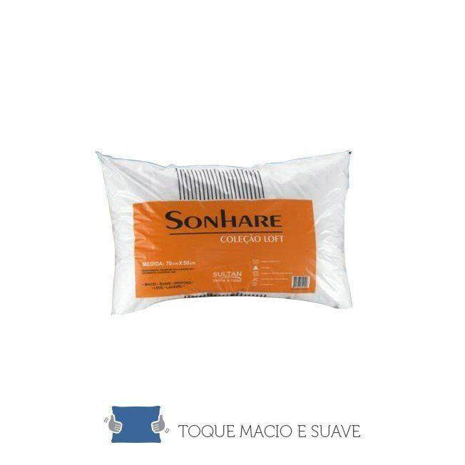 Travesseiro Anti-Alergico 70x50 cm de Fibra Siliconada - Sonhare - Sultan