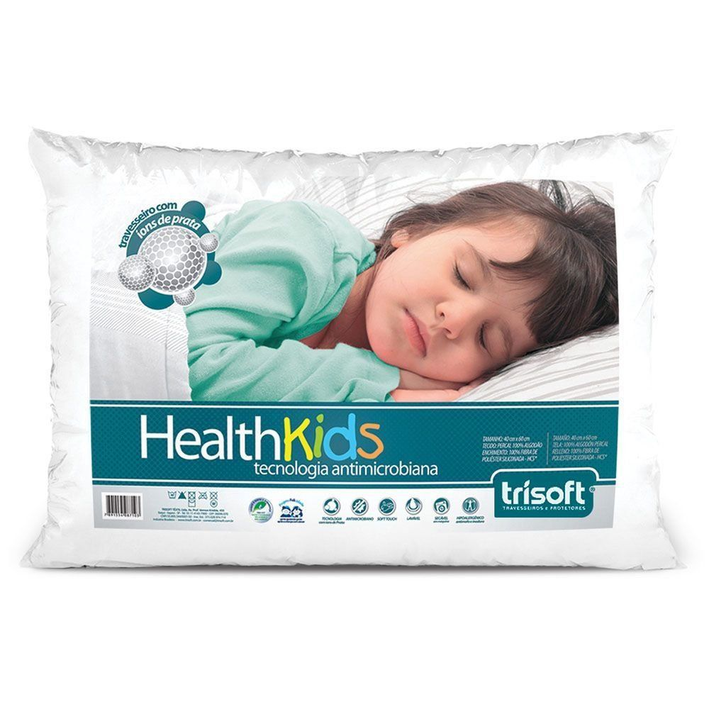 Travesseiro Infantil - Health Kids - 40cm x 60cm | Trisoft