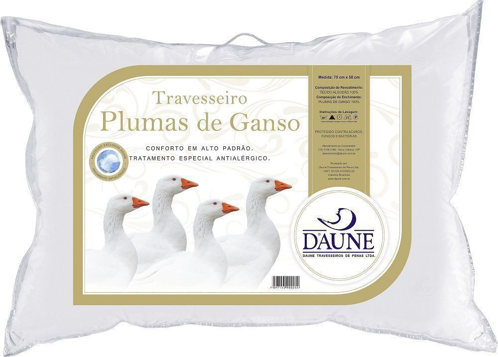 Travesseiro Plumas de Ganso 50X70 Antialérgico
