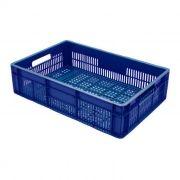 Caixa Plástica Vazada 26L Azul Mercoplasa