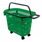 Cesta Plástica Para Mercados Com Rodas Della Plast Verde