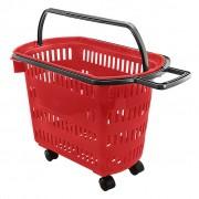 Cesta Plástica Para Mercados Com Rodas Della Plast Vermelho
