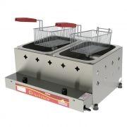 Fritador a gas 10lts 2 cestos 2 depositos alta pressao progas mod.pr-20g 5031