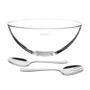 Kit para Salada Cristal e Inox 3 Peças Lapidar Tramontina