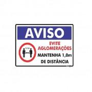 Placa Aviso Evite Aglomeração/Mantenha 1 Metro De Distância PS256 (30x20cm)