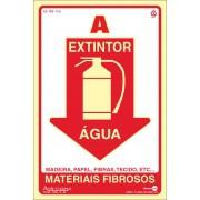Placa FotoLuminescente Extintor/Água PS4301F (30x20cm)